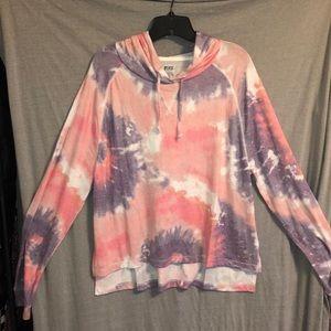 NWT! Victoria's Secret pink tye dye plush hoodie!